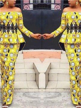 Ankle-Length Straight Silhouette Lace Slash Neck Dress