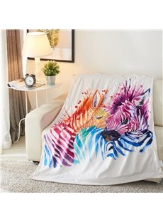 Colorful Zebra Couple Water-colored Printed 3D Blanket