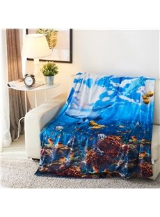 Shark and Colorful Fish Printed Ocean Theme 3D Printed Blanket