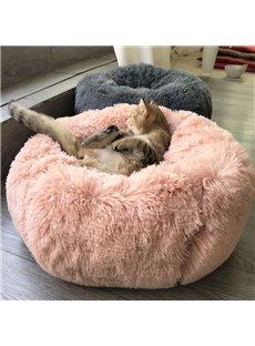 Luxury Fluffy Dog & Cat Bed Plush Donut Cuddler Round Pet Bed