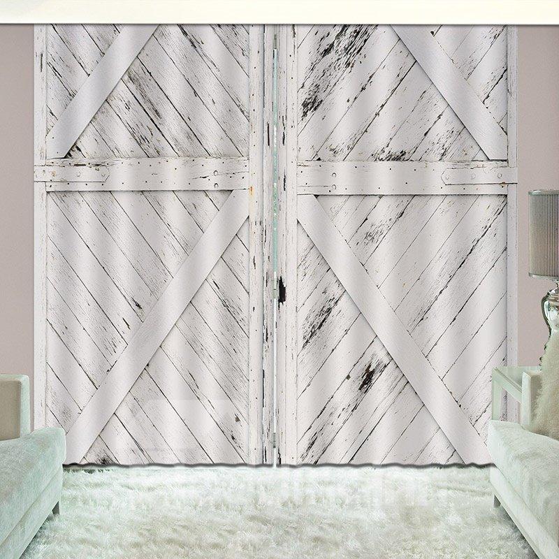 3D Antiqued Look Old Wooden Barn Door Printed Curtain