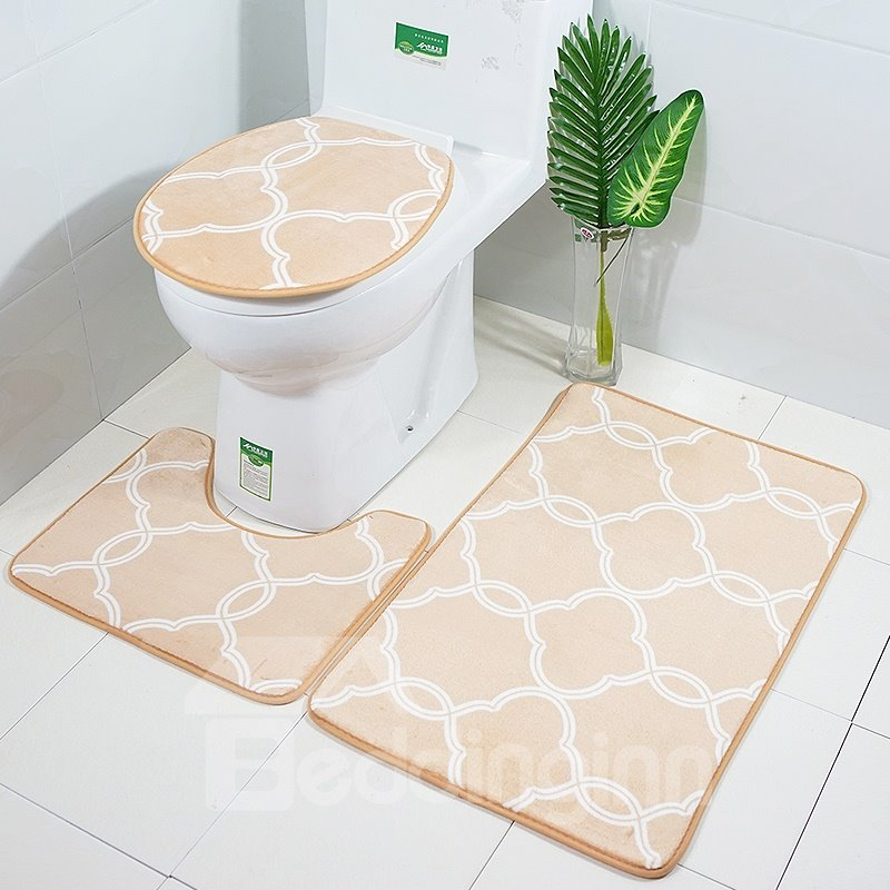Geometric Symmetrical Pattern 3-Piece Toilet Seat Cover
