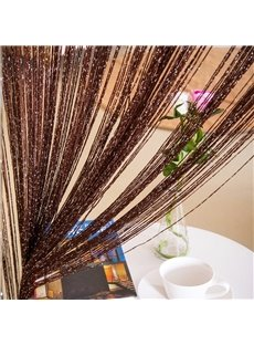 Dark Brown String Sheer Curtain Flat Silver Room Divider