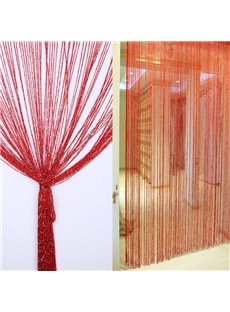 Pure Red String Sheer Curtain Flat Silver Room Divider