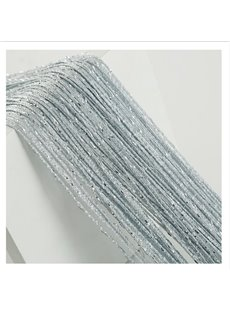 Silver-gray String Sheer Curtain Flat Silver Room Divider
