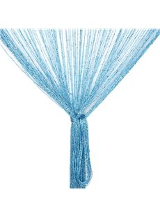 Sky-blue String Sheer Curtain Flat Silver Room Divider