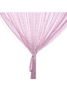 Pink String Sheer Curtain Flat Silver Room Divider