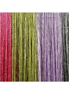 3*3M Strip Tassel String Sheer Curtain Flat Silver Room Divider