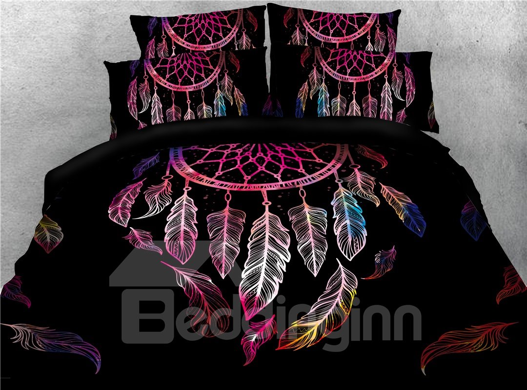 A Nice Night Ethnic Dream Catcher Feathers Printed 4-Piece 3D Bedding Sets/Duvet Covers