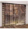 3D Rural Theme Barn Wood Door Printed Curtains