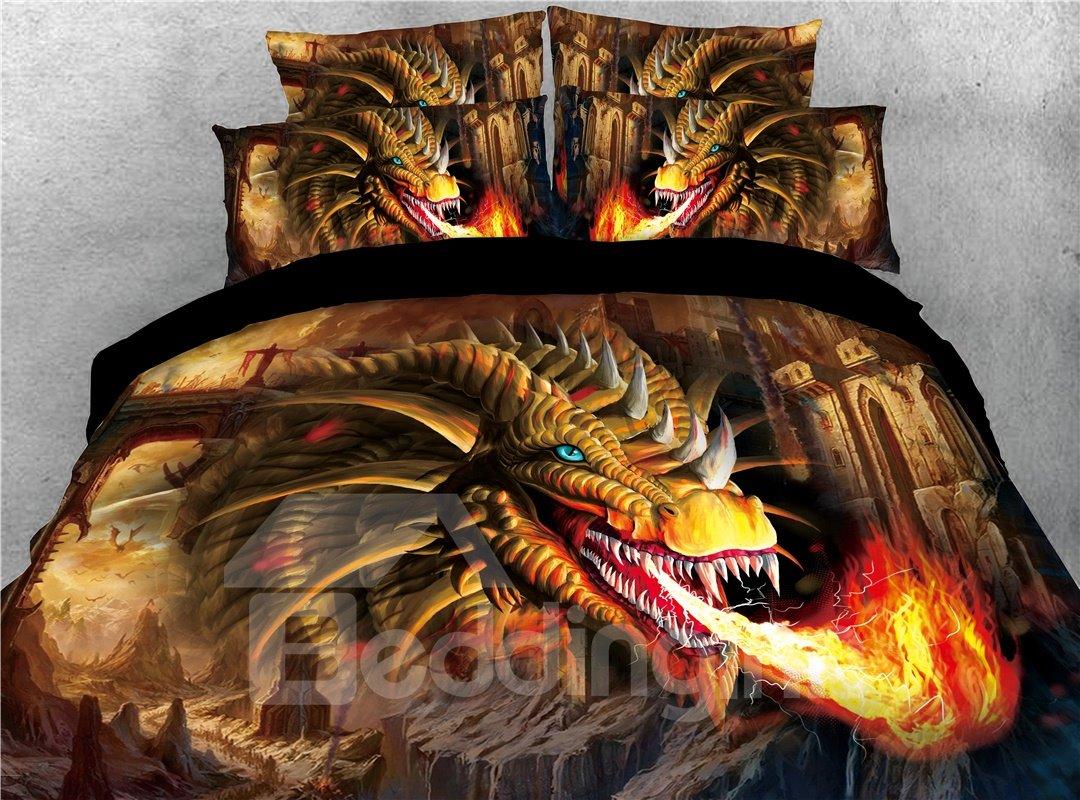 Golden Dragon Spouting Fire Printed 4-Piece 3D Bedding Sets/Duvet Covers