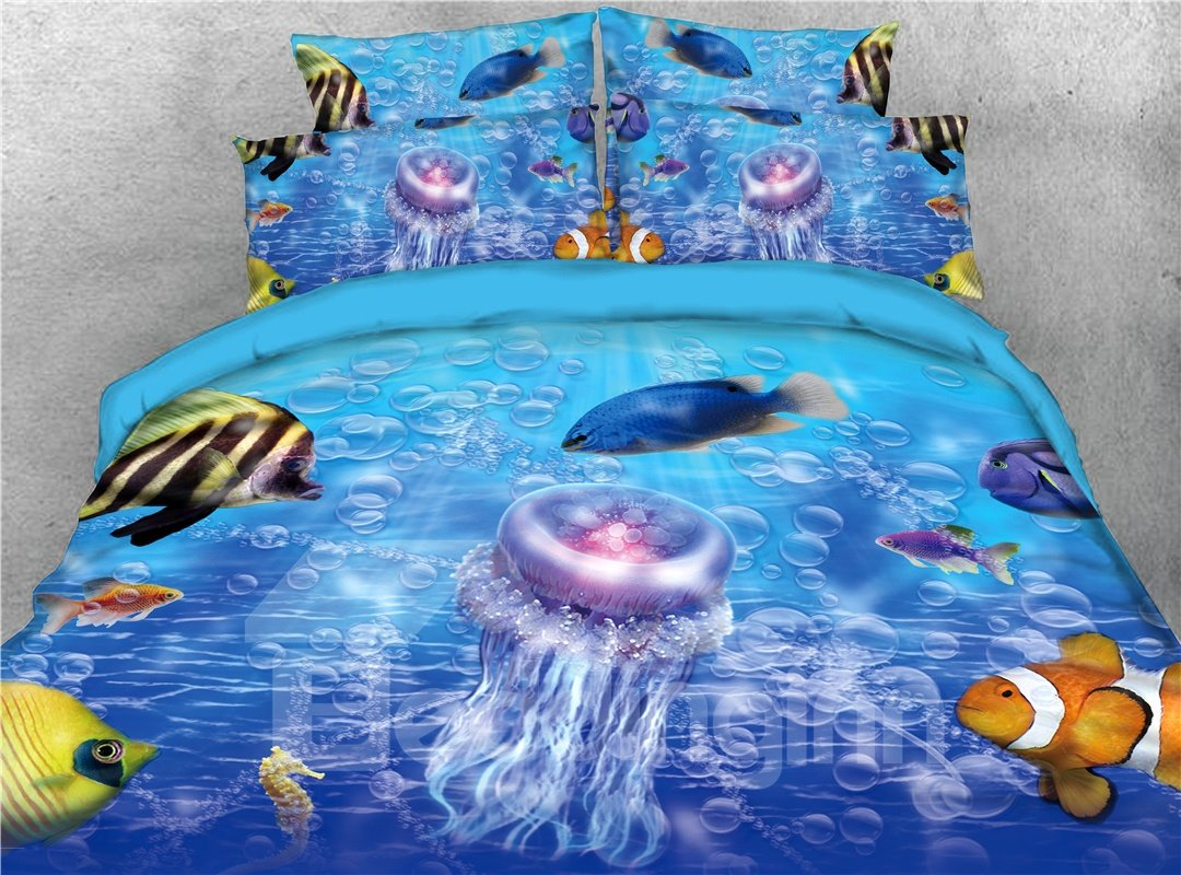 Colorful Fish and Ocean Jellyfish Printed 4-Piece 3D Bedding Sets/Duvet Covers