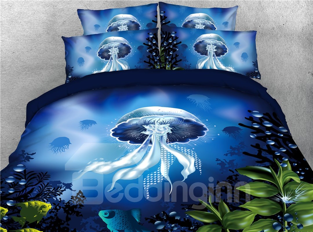Floating Jellyfish and Sea Fish Blue Printed 4-Piece 3D Bedding Sets/Duvet Covers