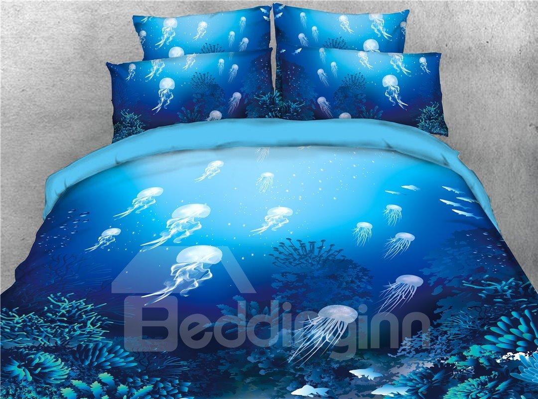 Ocean Jellyfish Blue Sea Theme Printed 4-Piece 3D Bedding Sets/Duvet Covers