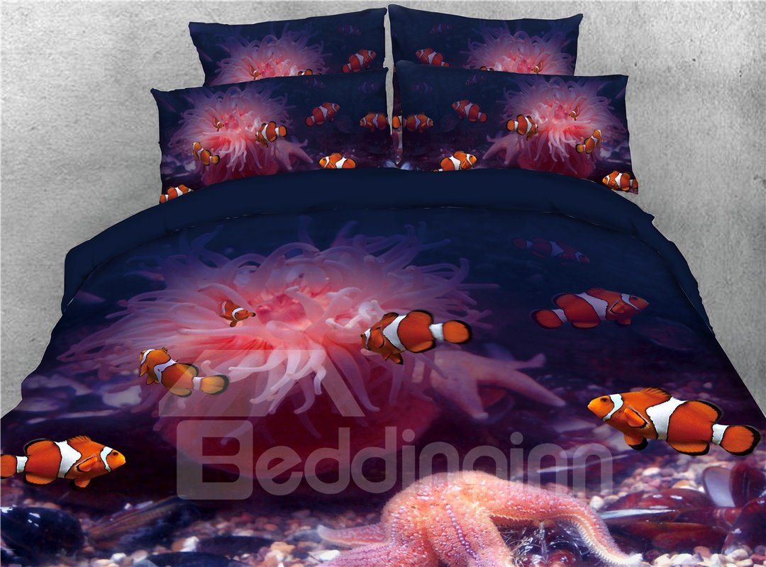 Octopus and Fish Ocean Theme Printed 4-Piece 3D Bedding Sets/Duvet Covers
