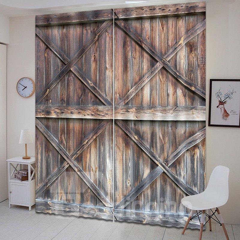 3D Rustic Design Wooden Barn Door Printed Curtains