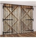 3D Vintage House Old Wooden Barn Door Printed Curtains