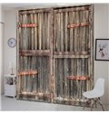 3D Printed Rustic Old Wooden Barn Door of Farmhouse Oak Countryside Curtains