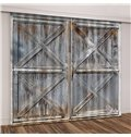 3D Printed Rustic Country Barn Wood Door Vintage Theme Curtain