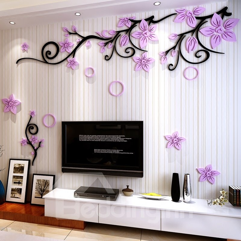 3 Color Flower Vine Pattern Acrylic Material Living Room 3D Wall Sticker
