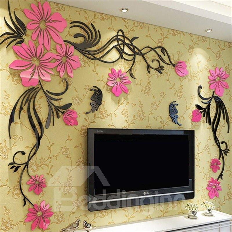 Elegant Flower Vine Pattern Acrylic Material Living Room 3D Wall Sticker