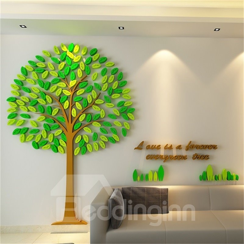 2 color acrylic material creative tree pattern living room 3d wall