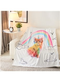 Rainbow and Cat 3D Printed Polyester White Blanket
