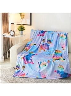 Rainbow Cats with Horn Printed 3D Polyester Blanket