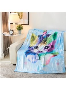 Rainbow Cat with Horn Printed 3D Polyester Blanket