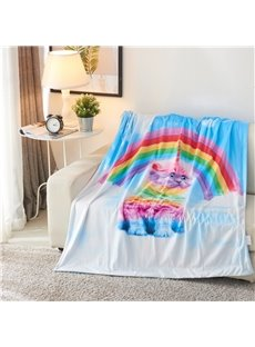 Rainbow and Innocent Cat Printed 3D Blue Blanket
