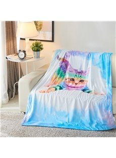 Fart Rainbow Cat 3D Reactive Printed Polyester Blanket