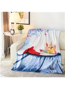 Rainbow Cat and Snow Scenery 3D Printed Blanket