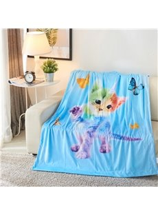 Rainbow Cat and Butterflies Printed 3D Blue Blanket