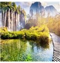 3D Natural Waterfall in The Lake Sunny Day Decor Curtains
