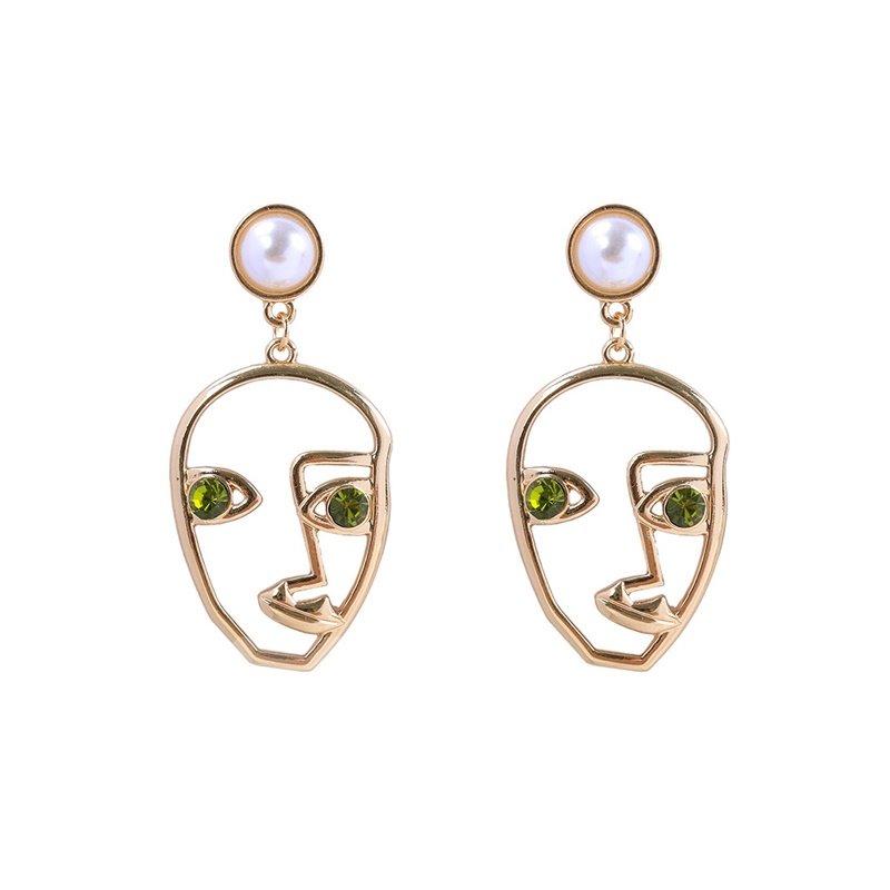 Creative Pop Face Diamond Eye Pearl Earrings