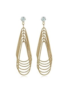 Metal Multilayer Water Drop Geometric Pattern Retro Exaggerated Earrings