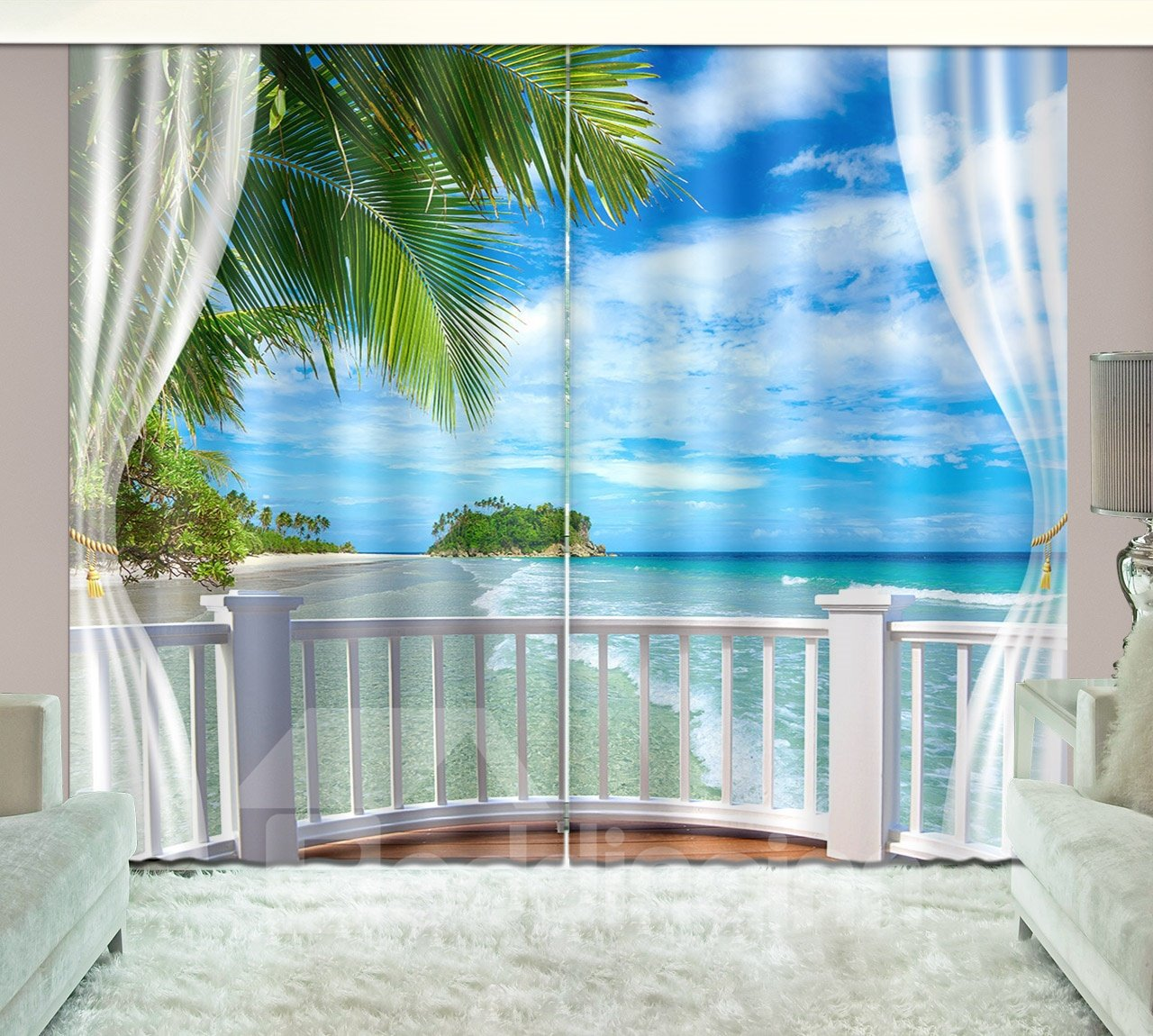 3D Seaside Beach Blue Sky White Cloud Printed Curtain