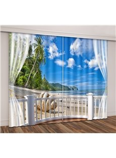 3D Blue Sky Tropical Seaside with Beach Seashell Printed Curtain