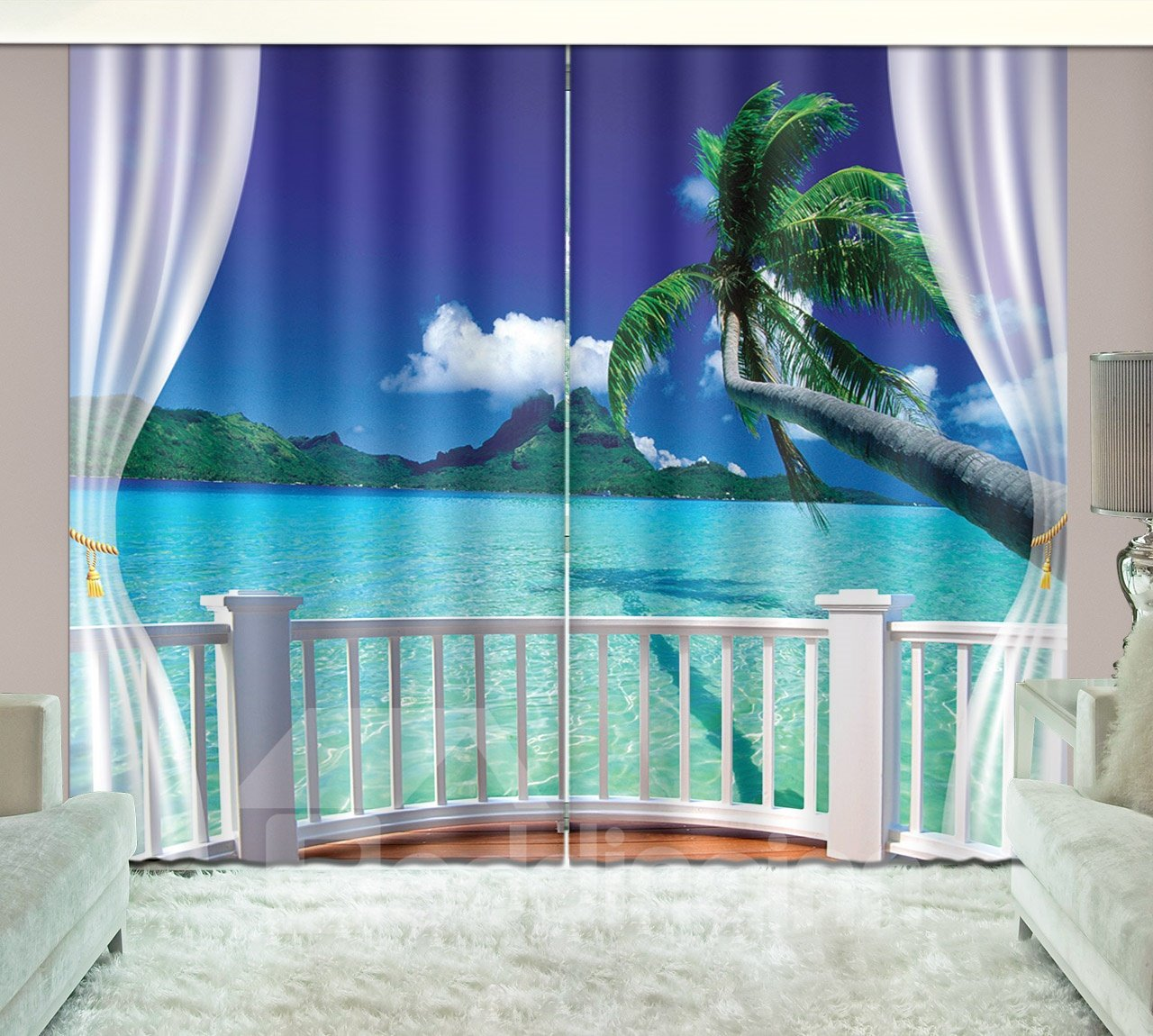 3D Printed Seaside Blue Sky Green Coconut Palm Curtain
