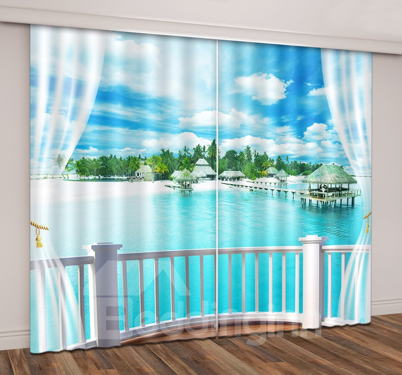 3D Printed Blue Sky Tropical Beach Romantic Travel Seaside Curtain
