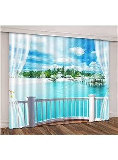 3D Printed Blue Sky Tropical Beach Romantic Travel Seaside Curtain