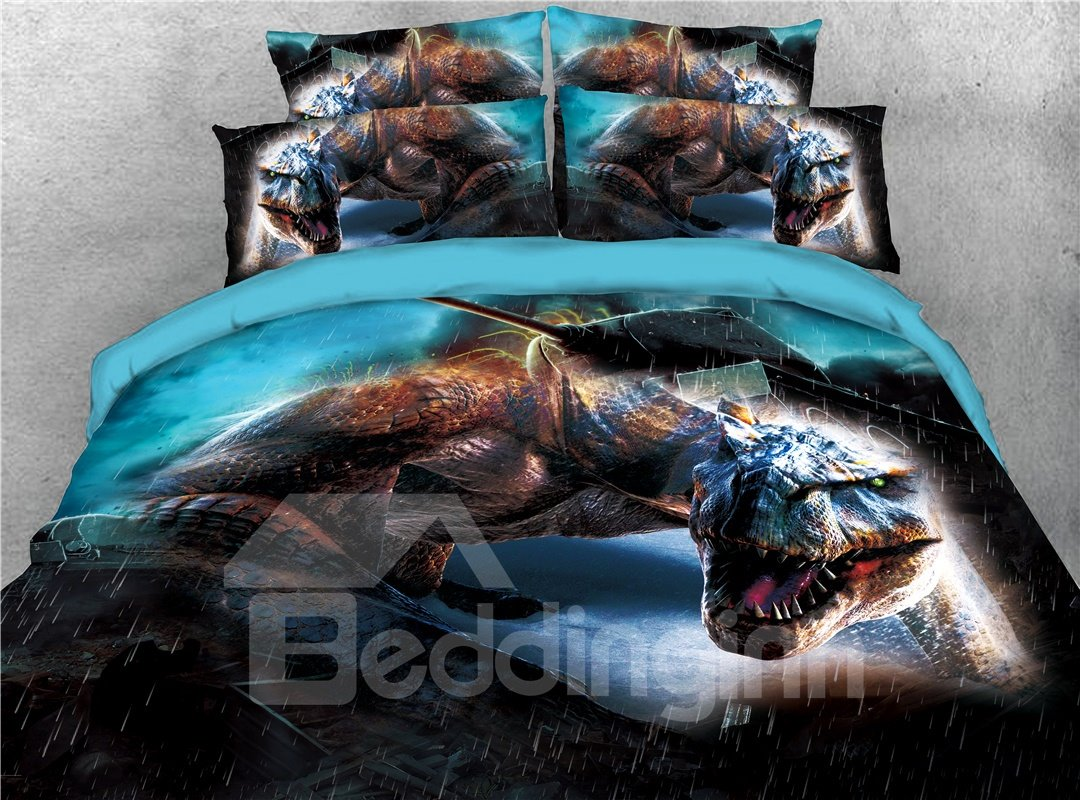 Mighty Dragon and Rain Printed 4-Piece 3D Bedding Sets/Duvet Covers