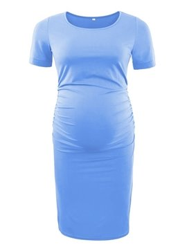 Women's Bodycon Ruched Side Casual Short Sleeve Maternity Dress