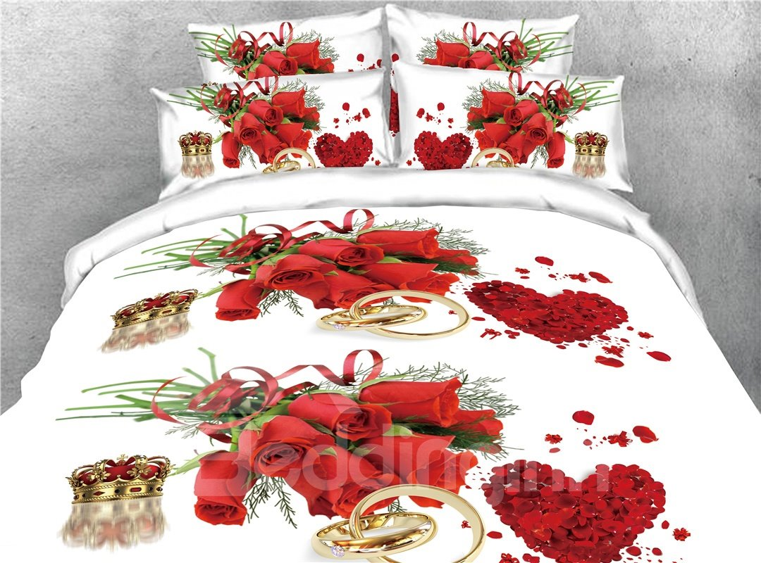 Heart-shaped Red Rose and Crown Ring Printed 4-Piece 3D Bedding Sets/Duvet Covers