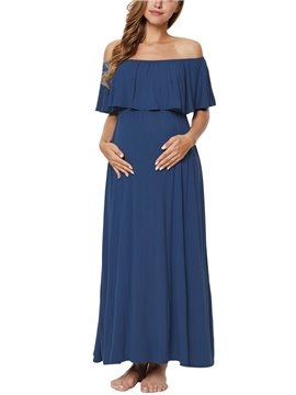 Maternity Gown Off Shoulder Ruffles Photography Dress