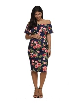 Maternity Off Shoulder Ruffles Soft Stretch Dress