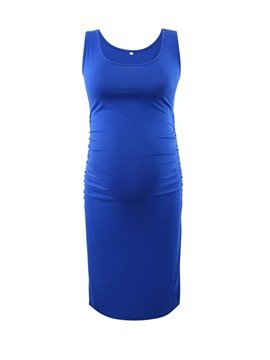 Women's Sleeveless Tank Side Ruching Maternity Dress