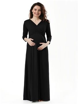 Women's V Neck Wraped Ruched Maternity Dress