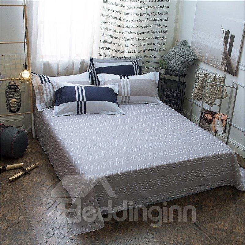Simple Stripe and Plaid Design Cotton 4-Piece Bedding Sets/Duvet Covers