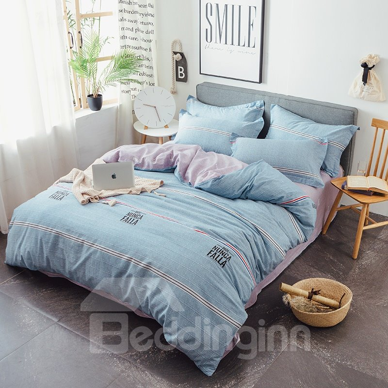 Simple Stripes Pattern Cotton 4-Piece Blue Bedding Sets/Duvet Covers
